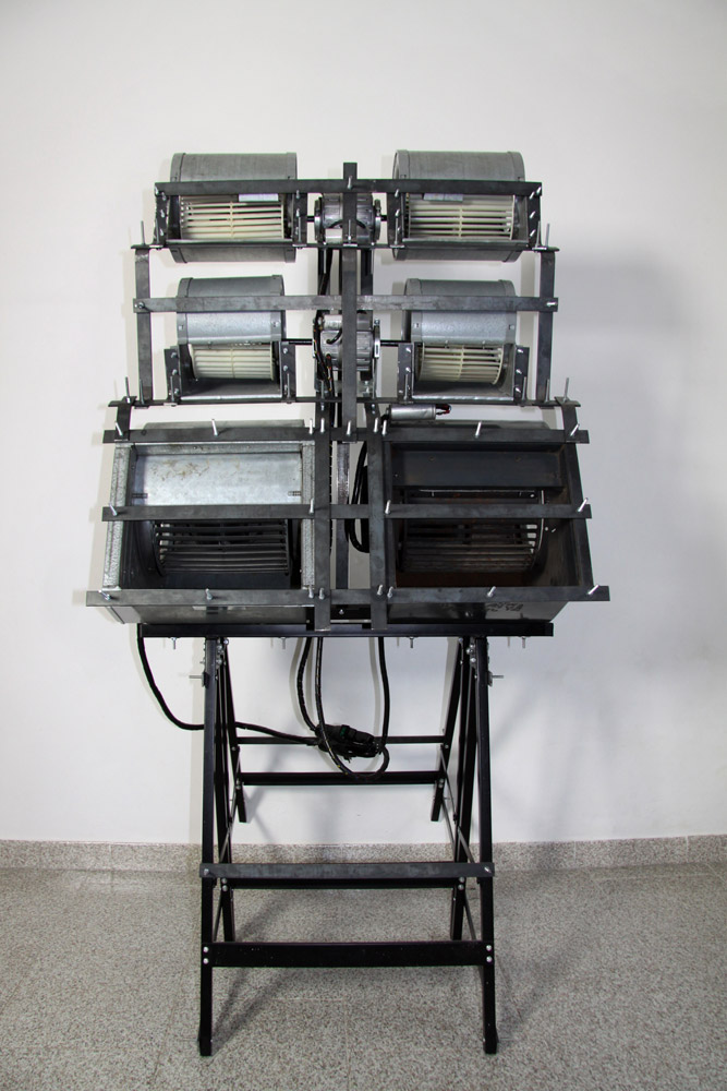 Alberto Tadiello, 1320 RPM, industrial fans, motors, metal brackets, trestles, 90 x 90 x 170 cm, 2009