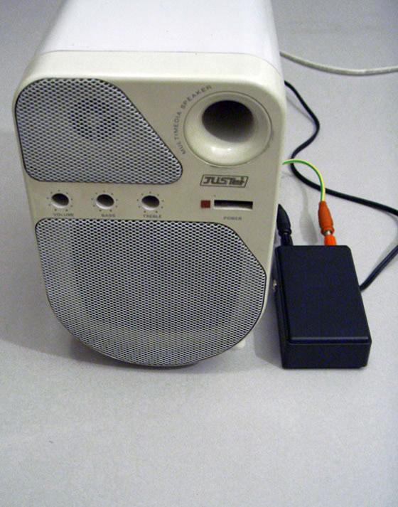 Alberto Tadiello, 9V, Speaker, circuit, cables, battery, site specific dimension, 2007.