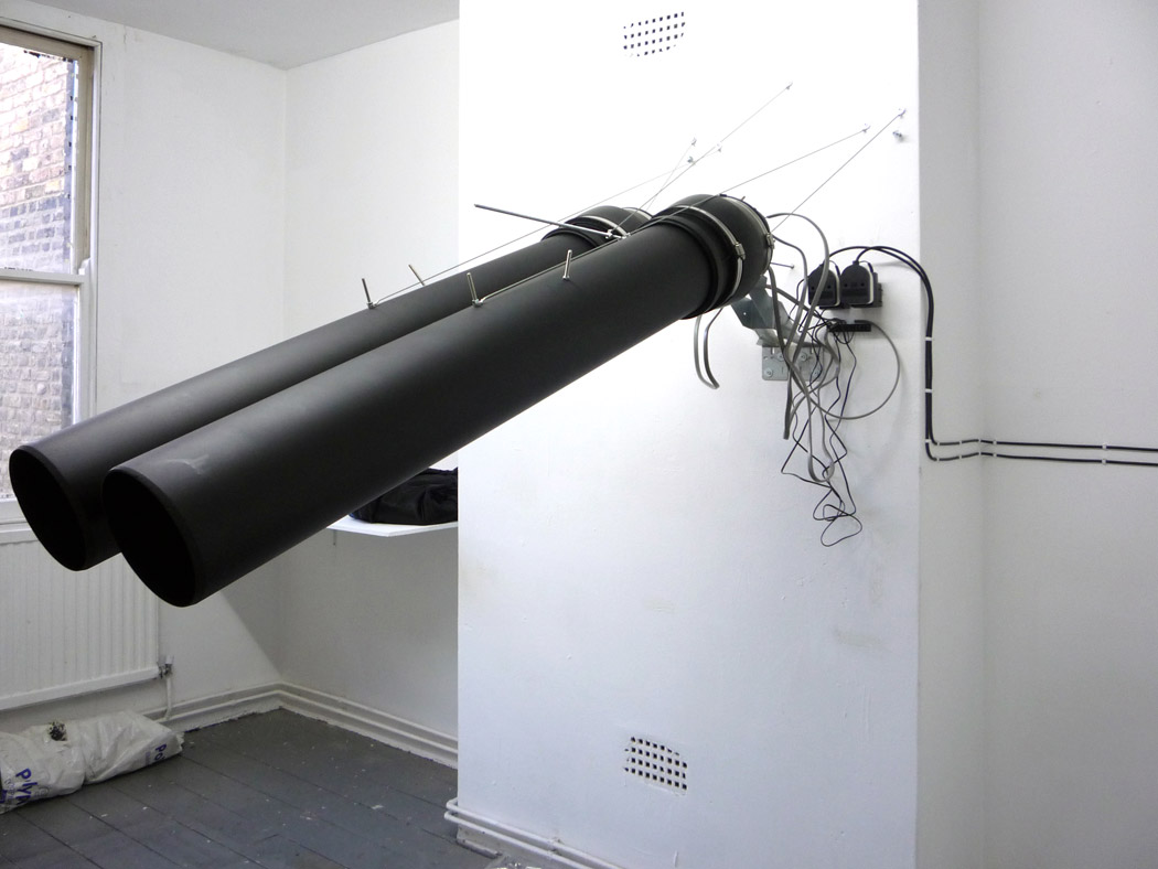 Alberto Tadiello, E13 000625, electric car horns, PVC tubes, voltage transformer, metal brackets, 60 x 150 x 110 cm, 2010