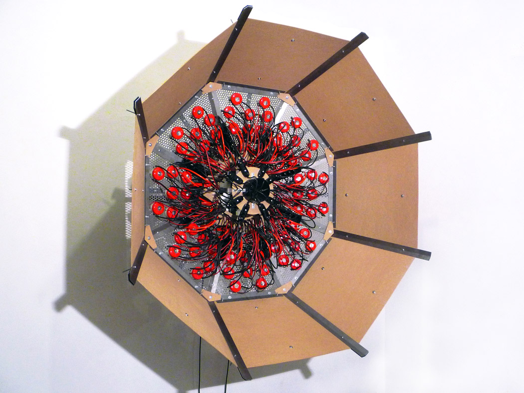 Alberto Tadiello, Elektronskal, metal extrusions, pre-drilled plate, electric bells, cables, mdf panels, Metal extrusions, pre-drilled plate, electric bells, cables, mdf panels, 2011