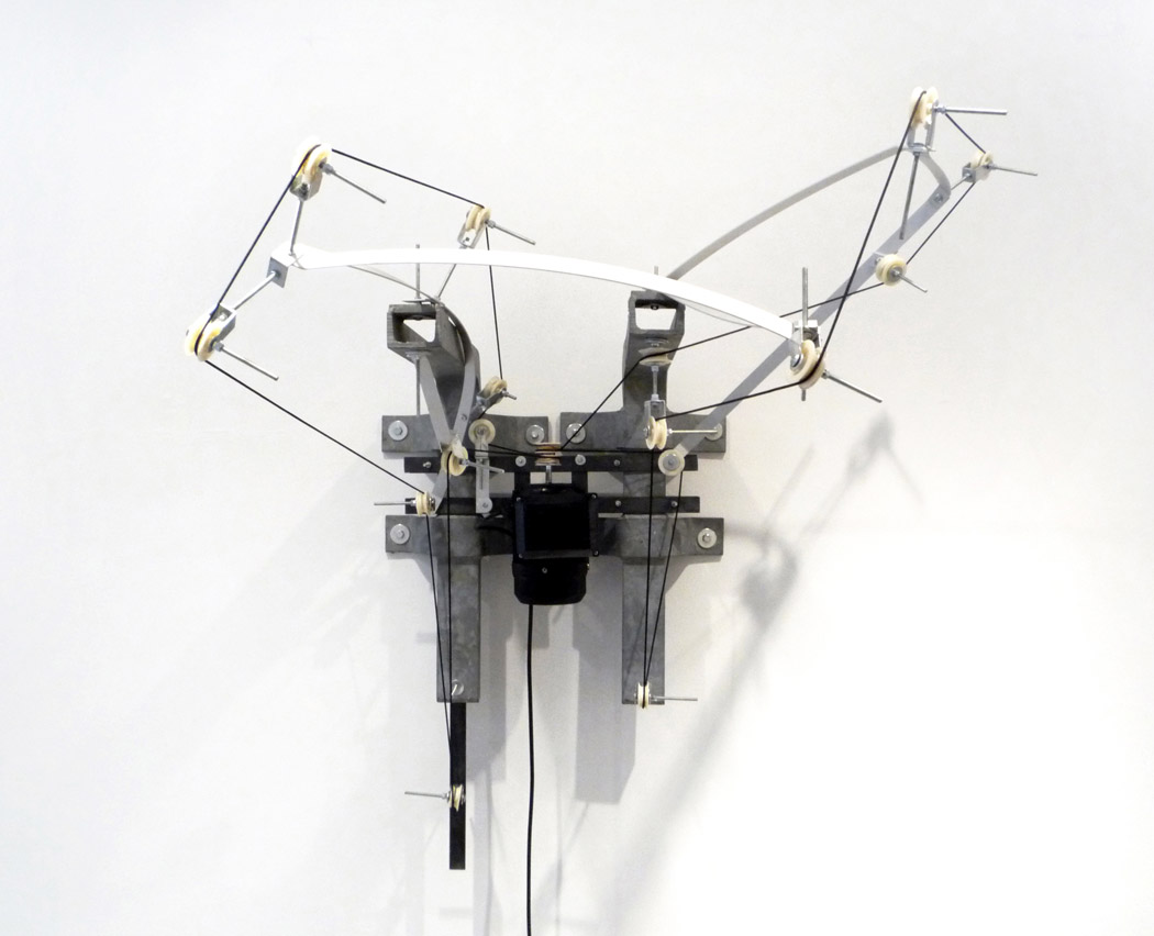 Alberto Tadiello, K, Metal brackets, aluminium bar, pulleys, nylon cord, nuts and bolts, electric motor, various dimensions, 2009