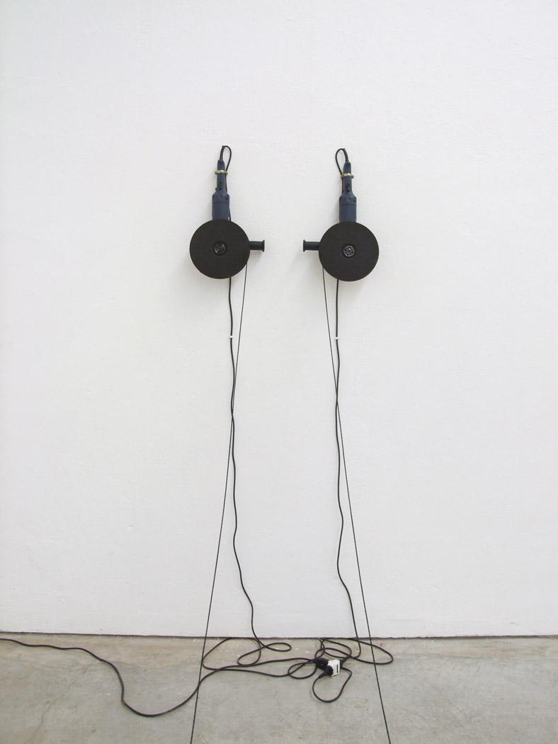 Alberto Tadiello, PWS 1200 IPC KH3116, circular saws, nylon cord, hooks, timer, site specific dimension, 2008.