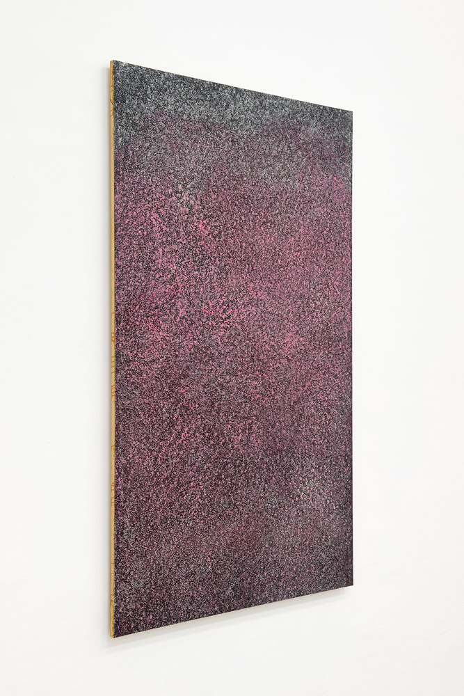 Alberto Tadiello, Pale (Blades), wax, glues, spray, soap, cosmetic products on sandpaper mounted on mdf panels, 178 x 103 x 4 cm each, 2014