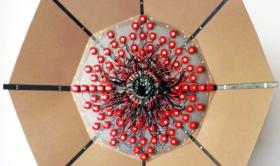 Alberto Tadiello, Elektronskal, metal extrusions, pre-drilled plate, electric bells, cables, mdf panels, 200 x 80 x 200 cm, 2011. AmC Collezione Coppola