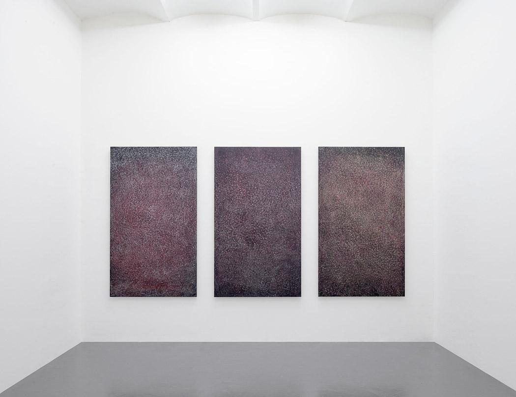 Alberto Tadiello, Pale, cere, colle, spray, sapone, cosmetici su carta vetrata montata su pannelli in mdf, 178 x 103 x 4 cm ciascuno, 2014