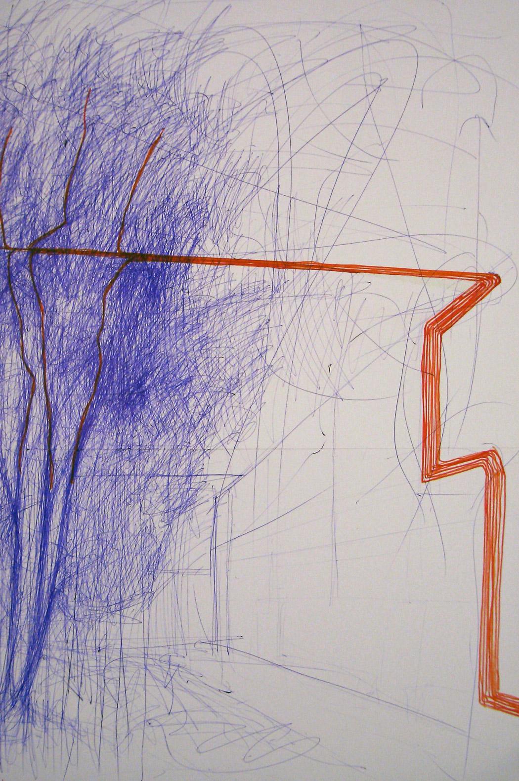 Alberto Tadiello, Usb, cavi, circuiti, impianto audio, alberi, dimensioni ambientali, 2007.